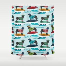 Black Labrador surfing dog breed pattern Shower Curtain