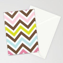 Zigzag Pattern, Chevron Pattern - Green Pink Blue Stationery Cards