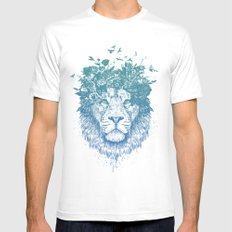 Floral lion White LARGE Mens Fitted Tee