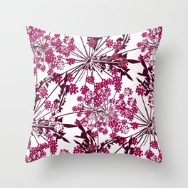 Laced crimson flowers on a white background. Throw Pillow