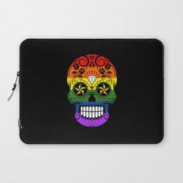 Gay Pride Rainbow Flag Sugar Skull with Roses Laptop Sleeve
