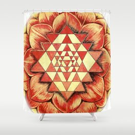 From the Heart of Devi - Sri Chakra Shower Curtain