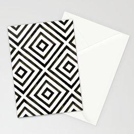 Black Ink Diamond Pattern Stationery Cards