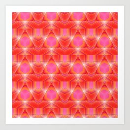 Candy Corn Inspired Pink & Orange Abstract Art Print