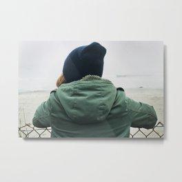 girl on beach. Metal Print
