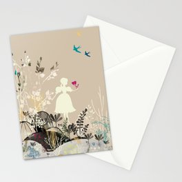 girl in the garden  Stationery Cards