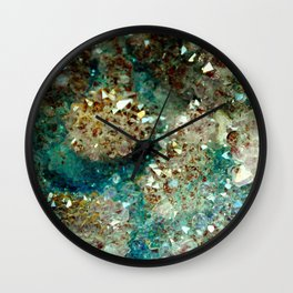 SPARKLING GOLD AND TURQUOISE CRYSTAL Wall Clock