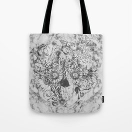 Bookmatched Marble Skull Tote Bag