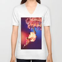 chandelier V-neck T-shirts featuring Lady Chandelier by Ginger Del Rey