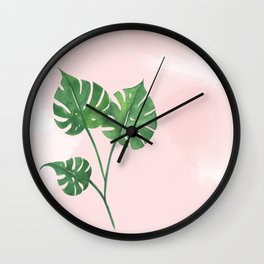 Watercolor tropical leaf Wall Clock