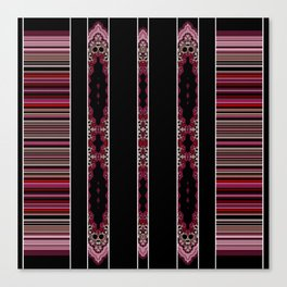 Aztec Inspired Pink Rose Multi Pattern Design Canvas Print