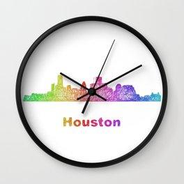 Rainbow Houston skyline Wall Clock