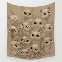 kittens Wall Tapestries featuring Kittens by Antracit