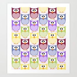 Colorful Owls - Green Blue Purple Yellow Art Print