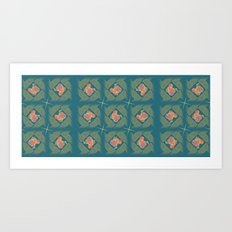 Wheat Check in Teal Art Print