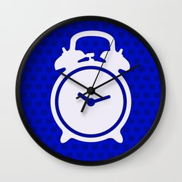 Electric Blue Mornings - with white alarm clock Wall Clock