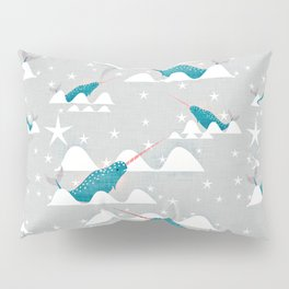 Sea unicorn - Narwhal grey Pillow Sham