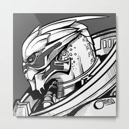 Garrus - B&W profile Metal Print