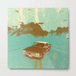 LONE BLUE ROAD Metal Print