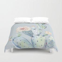Prettiest Rose Cactus Blue Duvet Cover
