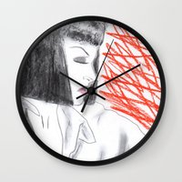 mia wallace Wall Clocks featuring Mia Wallace by Natália Damião