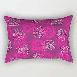 Neon Light Burgers on Pink Rectangular Pillow