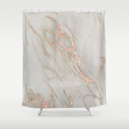 Marble - Rose Gold Marble Metallic Blush Pink Shower Curtain