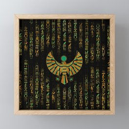 Egyptian Horus Falcon gold and color crystal Framed Mini Art Print