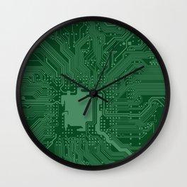 Green Geek Motherboard Circuit Pattern Wall Clock