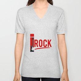 I Rock Electric Guitar Music Player Musician Unisex V-Neck