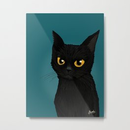 Cat in the blue Metal Print