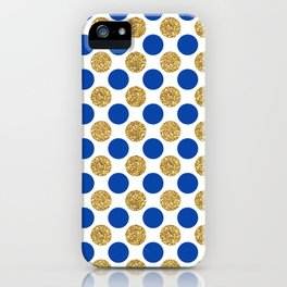 Pastel pink navy blue faux gold glitter polka dots iPhone Case