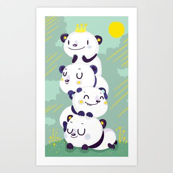 Panda pile Art Print