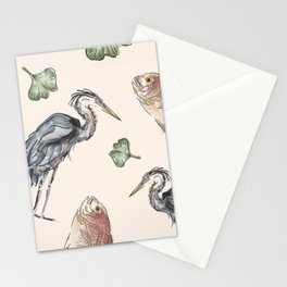 Heron and Fish Stationery Cards