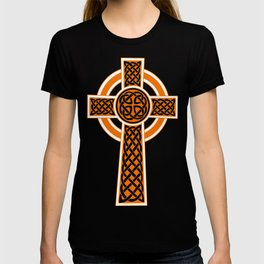 St Patrick's Day Celtic Cross Orange and White T-shirt