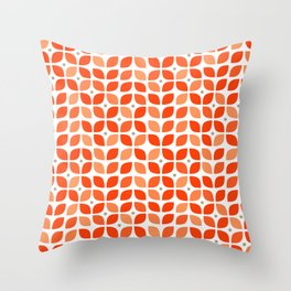 Red geometric floral leaves pattern in mid century modern style Throw Pillow