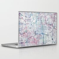 kansas city Laptop & iPad Skins featuring Kansas city map by MapMapMaps.Watercolors