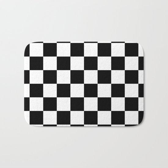 Black White Checker Checkerboard Checkers Bath Mat by Simply