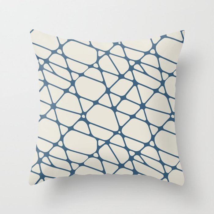 Blue & Linen White Abstract Mosaic Pattern 2 Pairs To 2020 Color of the Year Chinese Porcelain Throw Pillow