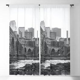 Minneapolis Skyline Black and White Blackout Curtain