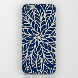Modern navy blue ivory hand painted floral mandala iPhone Skin