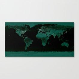 World Map : Green Canvas Print