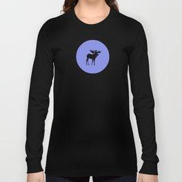Bull Moose Silhouette on Periwinkle Long Sleeve T-shirt