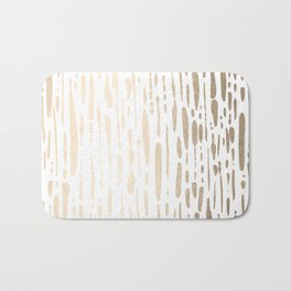 White Gold Sands Modern Vertical Dotted Lines Bath Mat
