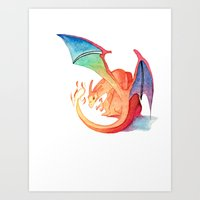 charizard Art Prints featuring Charizard by Natalie Huber