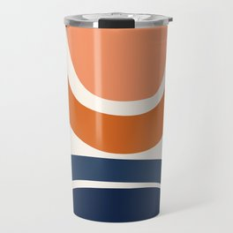 Abstract Shapes 7 in Burnt Orange and Navy Blue Travel Mug