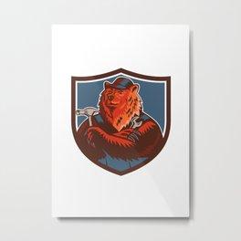 Russian Bear Builder Handyman Crest Woodcut Metal Print