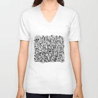bunnies V-neck T-shirts featuring Bunnies & Skulls by Stephan Brusche