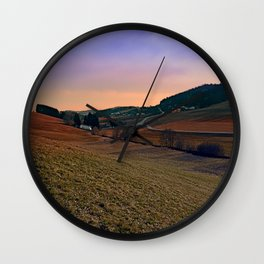 Beautiful valley scenery in the evening | landscape photography Wall Clock