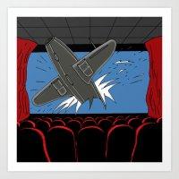 cinema Art Prints featuring Cinema by AdamSteve